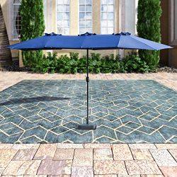 Patio Festival ® Double-Sided Outdoor Umbrella,15×9 ft Aluminum Garden Large Umbrella with  ...
