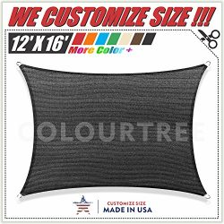 ColourTree 12′ x 16′ Black Sun Shade Sail Canopy  Rectangle – Commercial Stand ...