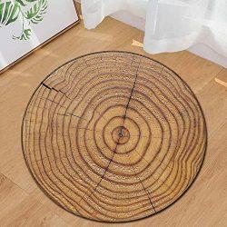 Onegirl Wood Grain Round Carpet 24″ Home Area Rug Kids Play Rugs Non-Slip Floor Mat Living ...