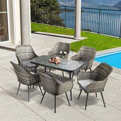 PAMAPIC BT-761 7 PCS Patio Dining, Outdoor Rattan Furniture Set, Wicker S, Grey