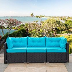 Amolife 3 Pieces Patio PE Rattan Sofa Set Outdoor Sectional Furniture Wicker Chair Conversation  ...