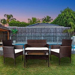 VEIKOU Rattan Garden Furniture Set Patio Conservatory Indoor Outdoor 4 Piece Set Table Chair Sof ...