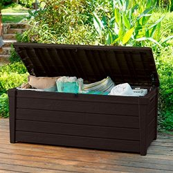 Pool Deck Storage Box and Bench is 2 in 1 Multifunctional Patio Seat Resin UV Protected 120-Gall ...