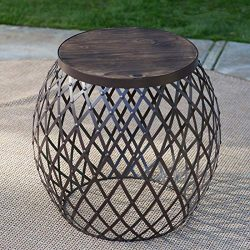 Industrial Rustic Brown Wood Metal Round Drum Style Patio Side Table Outdoor Accent Furniture En ...