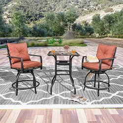 LOKATSE HOME Patio Bar Height Set with 2 Outdoor Swivel Chairs and 1 High Glass Top Table, Red C ...