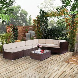 Esright 7 Pieces Patio PE Rattan Wicker Sofa Sectional Furniture Wicker Chair Conversation Set w ...