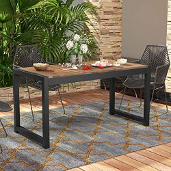Tribesigns Solid Wood Dining Table, Outdoor Patio Dining Table Furniture with Metal Frame Perfec ...