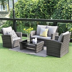 Wisteria Lane 5 Piece Outdoor Patio Furniture Sets, Wicker Ratten Sectional Sofa with Seat Cushi ...