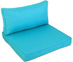 Outime Indoor/Outdoor 2pcs Turquoise Cushions Set,Rplacement Cushions for Patio Furniture