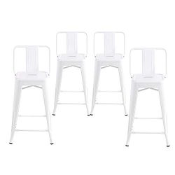 Buschman Set of 4 White 24 Inch Counter Height Metal Bar Stools with Medium Back Indoor Outdoor