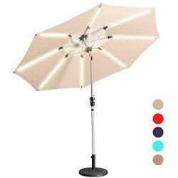 Aok Garden LED Outdoor Umbrella,9 Feet Solar Powered LED Light Bars Patio Umbrella with Push But ...
