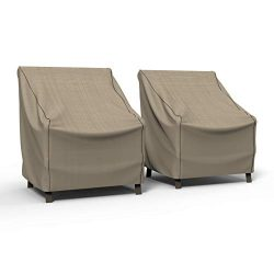 Budge P1W01PM1-2PK English Garden Patio Chair Cover, Medium (2-Pack), Tan Tweed
