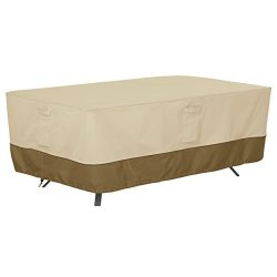 Classic Accessories 56-311-061501-EC Veranda Patio Rectangle/Oval Table Cover, XX-Large, Pebble- ...