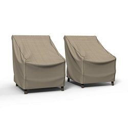 Budge P1W04PM1-2PK Cover for Outdoor Patio Chairs Extra Large (2 PK), (2-Pack), Tan Tweed