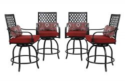 PHI VILLA Outdoor Swivel Bar Stools Bar Height Patio Chairs, Set of 4 Bistro Dining Chairs Garde ...