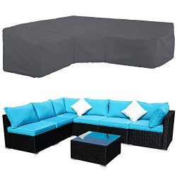 STARTWO Patio V-Shaped Sectional Sofa Cover, Patio Sectional Furniture Cover Waterproof Outdoor  ...