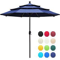 EliteShade Sunbrella 9Ft 3 Tiers Market Umbrella Patio Outdoor Table Umbrella with Ventilation a ...