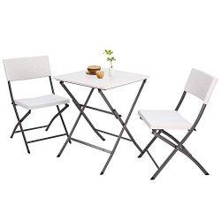 5Rcom 3 Piece PE Rattan Patio Bistro Sets,Outdoor Patio Furniture Weather Resistant,Foldable Gar ...