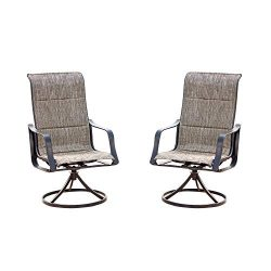 Top Space Swivel Patio Chairs Bistro Bar Stools Outdoor Furniture with All Weather Metal Frame ( ...