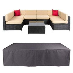 Veronica Patio Sofa Cover Outdoor Sectional Furniture Cover Waterproof Garden Couch Cover Dust P ...