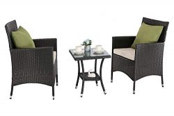 M&S 3 PCS Outdoor Patio Bistro Sets Chairs Rattan Wicker Cushions with Table Porch Garden (B ...