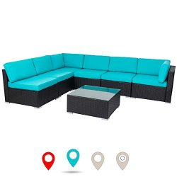 walsunny 7pcs Outdoor Black Rattan Sectional Sofa- Patio Wicker Furniture Set Conversation Sets  ...