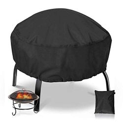 NASUM Fire Pit Cover Round 36×36 Inch Waterproof 420D Heavy Duty Round Patio Fire Bowl Cove ...