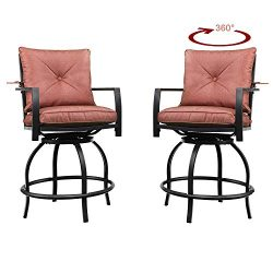 Patio Festival Swivel Bar Stools Patio Height Bistro Chairs Set of 2 PCS Outdoor Conversation Se ...