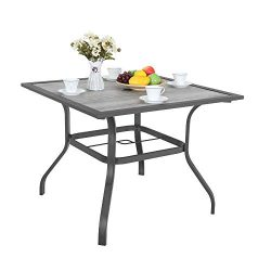 MF STUDIO 37″ Square Backyard Bistro Table Patio Dining Table Outdoor Furniture Garden Tab ...