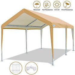 ADVANCE OUTDOOR 10 x 20 FT Heavy Duty Carport Canopy Car Garage Shelter Party Tent with Steel Pe ...