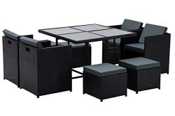 MCombo Aluminum Outdoor Wicker Rattan Dining Table(42.5Inchx 42.5Inch x29Inch) Chairs Set Space  ...