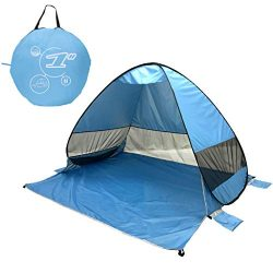 Instant Beach Tent 2-3 Person, Pop Up Sun Shelter Easy Setup Portable Umbrella Outdoor Sun Shade ...