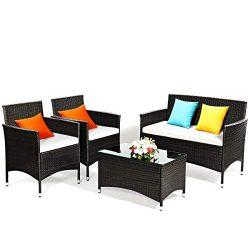 Tangkula 4PC Rattan Patio Furniture Set,Outdoor Sofa Table Set with Cushion, Outdoor Indoor Use ...