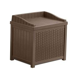 Suncast SSW1201 22 Gallon Resin Wicker Outdoor Storage Deck Box with Seat, Java