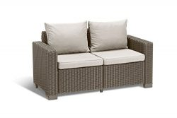 Keter California All Weather Outdoor 2-Seater Patio Sofa Loveseat with Cushions in a Resin Plast ...