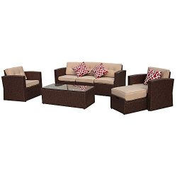 7 Pieces Outdoor Rattan Sectional Furniture Set with Beige Seat and Back Cushions, Red Throw Pil ...
