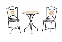 Backyard Classics Ashland 3-Piece Mosaic Patio Set with Mesh Chairs and Round Table