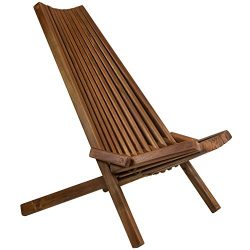 CleverMade Tamarack Folding Wooden Outdoor Chair – Foldable Low Profile Acacia Wood Lounge ...