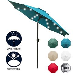 Sunnyglade 9′ Solar 24 LED Lighted Patio Umbrella with 8 Ribs/Tilt Adjustment and Crank Li ...