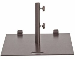 Abba Patio 53 lb. Square Steel Market Patio Umbrella Base Stand with Wheel and 2 Separate Poles  ...