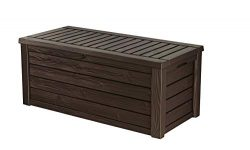 Keter Westwood Plastic Deck Storage Container Box Outdoor Patio Garden Furniture 150 Gal, Brown  ...