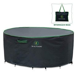Outdoor Patio Furniture Covers, Waterproof UV Resistant Anti-Fading Cover for Medium Small Round ...