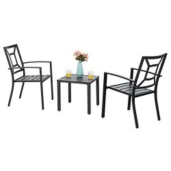 PHI VILLA Metal Outdoor Patio Bistro Furniture Set with 2 x Dining Chairs and 1 x Small Square T ...