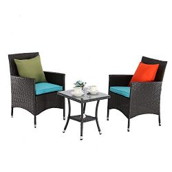 M&S 3 PCS Outdoor Patio Bistro Sets Chairs Rattan Wicker Cushions with Table Porch Garden (E ...