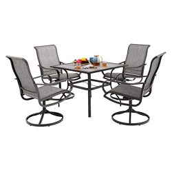 MF Patio Dining Set 5 Pieces 4 Swivel Chairs, 1 Square 37″x 37″Table Furniture Set f ...