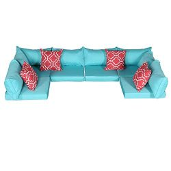 Do4U Patio Furniture Cover Water Resistant Outdoor Furniture Sets Cushion Cover Set with 2 Corne ...