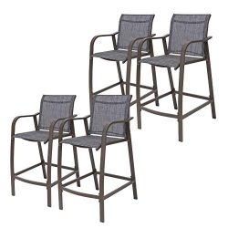 Crestlive Products Counter Height Bar Stools All Weather Patio Furniture with Heavy Duty Aluminu ...