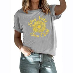 winsopee Fashion Women's Summer Letter Sunflower Printed Tunic Tee Casual Short Sleeve T S ...
