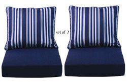 Comfort Classics Inc. Set of 2 Deep Seating Outdoor Dining Chair Cushion: Pillow: 24″ W x  ...