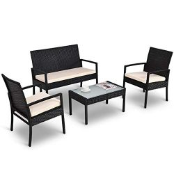 Tangkula 4 Piece Patio Outdoor Conversation Set with Glass Coffee Table, Loveseat & 2 Cushio ...